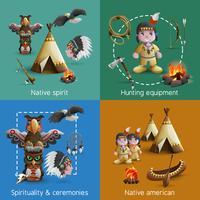 Conjunto de ícones de design nativo americano vetor