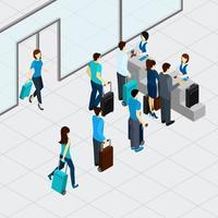 Check-in no aeroporto vetor