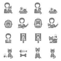Clínica veterinária visita conjunto de ícones pretos