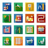 Conjunto de ícones quadrados reparação casa plana