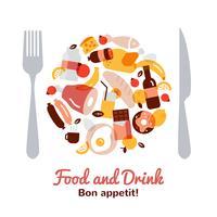 Comida e bebida conceito vetor