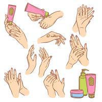 Aplicando creme mãos composição plana ícones vetor
