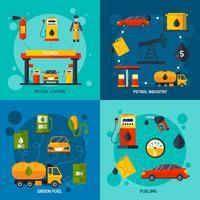 Posto de gasolina 4 ícones quadrados plana vetor