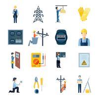 Conjunto de ícones de reparadores de eletricidade