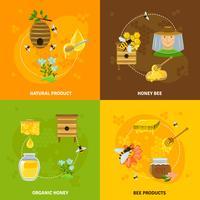 Conjunto de ícones de mel e abelhas vetor