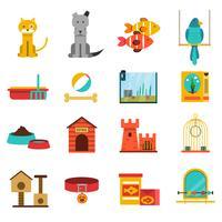 Conjunto de ícones de animais de estimação vetor