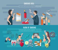 Conjunto de Banner de fumar vetor
