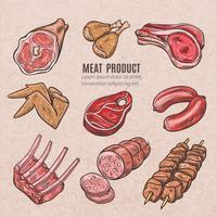 Esboços de cor de produtos de carne vetor