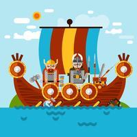 Fundo de barco Viking vetor