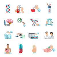 Conjunto de ícones de biotecnologia de cor lisa