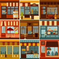 Restaurante e conjunto de fachadas de loja vetor