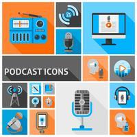 Ícones de podcast planas