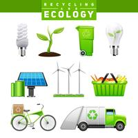 Conjunto de imagens de reciclagem e ecologia