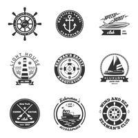 Conjunto de etiquetas náuticas vetor