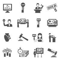 Conjunto de ícones de leilão preto branco vetor