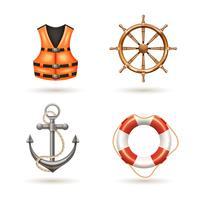 Conjunto de ícones marinhos vetor