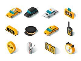 Conjunto de ícones isométrica de táxi vetor