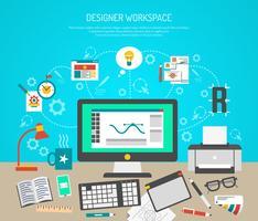 Conceito de espaço de trabalho do designer