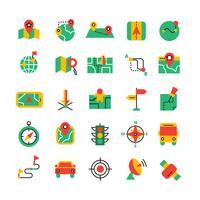 Conjunto de ícones de navegação de cores
