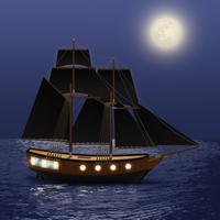 Fundo do mar à noite vetor