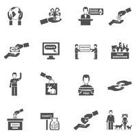 Conjunto de ícones de preto branco de caridade