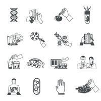 Conjunto de ícones pretos de biotecnologia