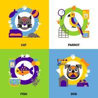 Conjunto de conceito de design veterinário