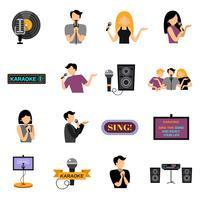 Conjunto de ícones plana de karaoke vetor