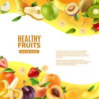 Banner de fundo de frutas saudáveis vetor