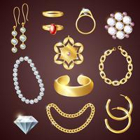 Conjunto realista de joias vetor
