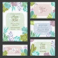 Conjunto de cartões de casamento de cacto vetor