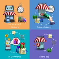 M-commerce conjunto de ícones vetor