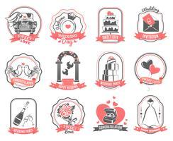 Conjunto de contorno de emblemas de noivado de casamento de casamento vetor
