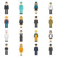 Conjunto de avatares plana de profissão