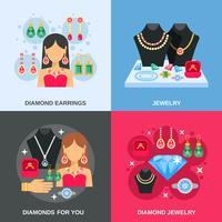 Conjunto de ícones de conceito de joias vetor