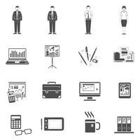 Conjunto de ícones de escritório preto