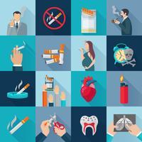 Conjunto de ícones plana de fumar vetor