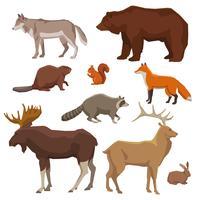 Conjunto de ícones pintados de animais selvagens vetor