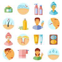 Conjunto de ícones de cuidados com a pele vetor