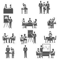 Conjunto de ícones pretos de coaching de negócios vetor