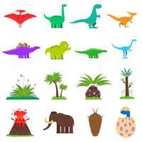 Conjunto plano de dinossauros vetor