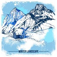 Casa de esboço em montanhas de inverno