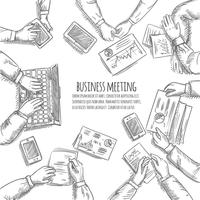 Esboço de reunião de negócios vetor