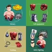 Mma lutando 4 quadrado de ícones 3d