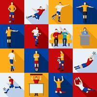 Conjunto de ícones de jogadores de futebol plano vetor