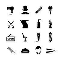 barbeiro ícones conjunto preto vetor
