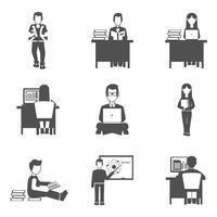 Conjunto de ícones de estudante vetor