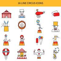 Conjunto de ícones de linha de circo vetor