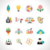 Conjunto de ícones plana de crowdfunding de inicialização