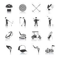 Conjunto de ícones de golfe preto branco